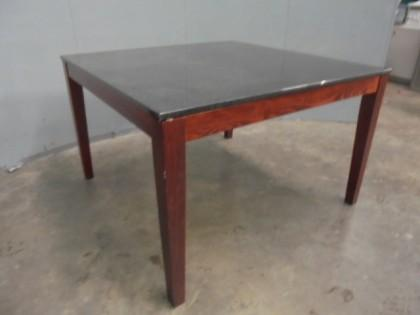 lot black granite square dining table x1